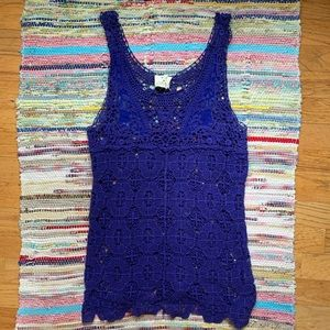 UO Pins and Needles Purple Blue Lace Tank Top